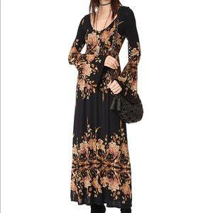 Free People Midnight Garden Midi Dress Black NWT